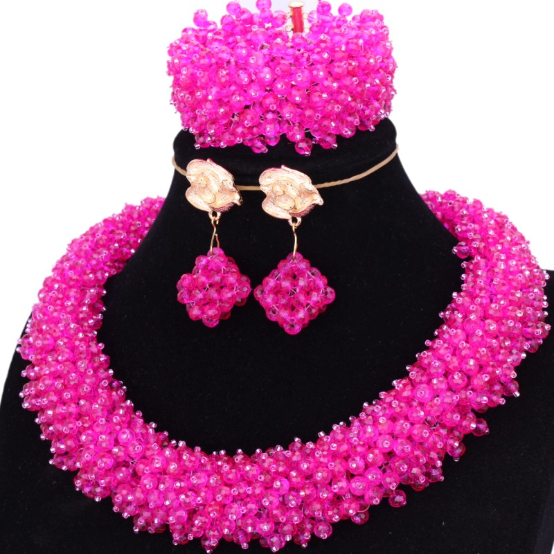 4UJewelry Womens African Necklace And Jewelry Hot Pink / Fuchsia Nigerian Bridal Beads Round Wedding Jewellery Indian 2018 New