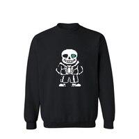 Cartoon Skeleton Pattern Capless Winter Hoodies Men Casual Autumn Mens Hoodies And Sweatshirts Fashion Casual Black