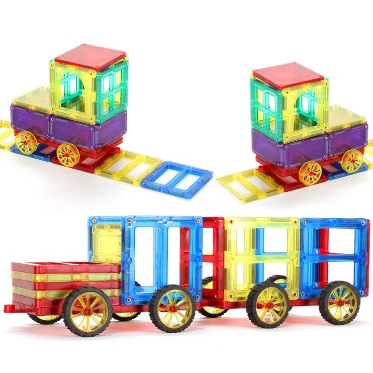 Новый Магнит Конструкторы строительных Дети Детская творческая DIY Игрушечные лошадки, можно построить автомобили, поезда, замки