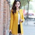 2016 new candy-colored woolen coat woolen coat long paragraph Slim cardigan women's collarless coat