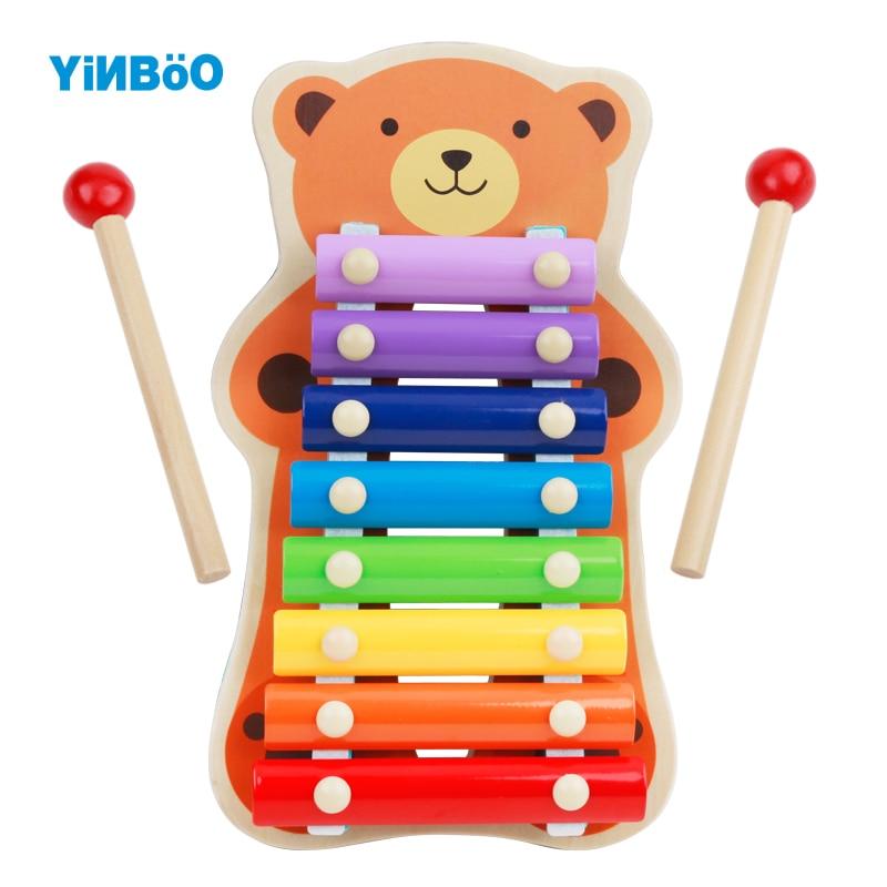 Деревянные музыкальные Игрушечные лошадки Мишка лягушка деревянная игрушка ксилофон разв ...