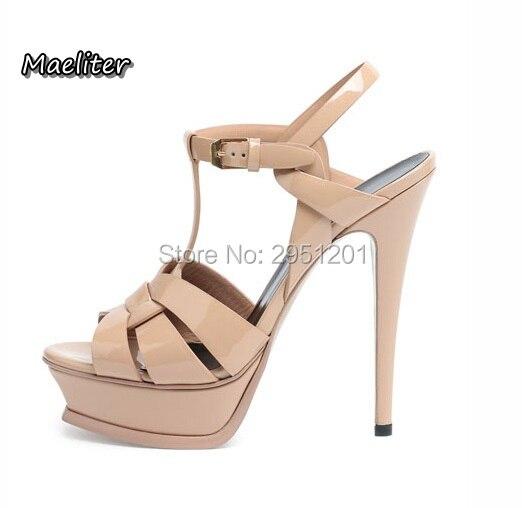 Top quality luxury Brand Designer Summer Patent Leather Women 14 CM High Heels Platform Sandals Shoes for Women 23 Colors