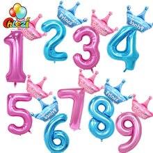 Ballons à chiffres rose et bleu en aluminium, 40 pouces, + ballon princesse prince en aluminium, décoration de fête d'anniversaire pour garçons et filles de 1 2 3 ans, boule couronne