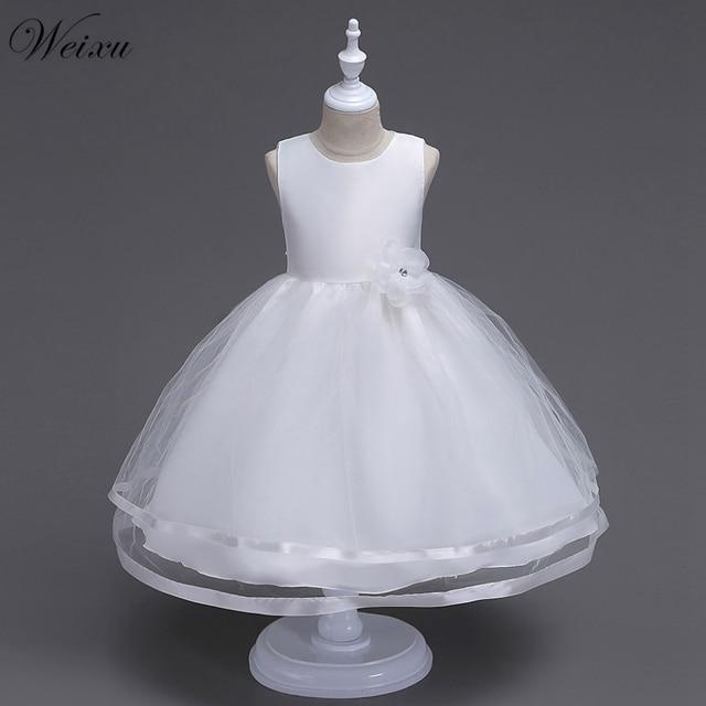 b8c9fbfce Weixu Summer Girls Dresses Kids Wedding Gowns White Tulle Flower Princess  Party Dress Child Festive Pageant Ball Gown Dresses
