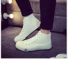 2016 Men's high fashion trend breathable casual shoes Unisex canvas shoes white male spring and summer single shoes size 35-44