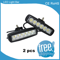 2 Piece Slim 18W LED Light Bar Offroad Car Truck Lamp ATV 12V 24V 6inch Waterproof