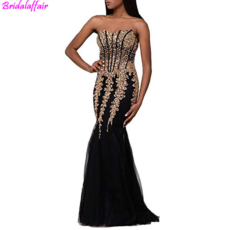 Women's Tulle Long Evening   Dresses   2019 Sex Sweetheart Strapless Crystal Beaded Mermaid   Prom     Dresses   Formal Gown