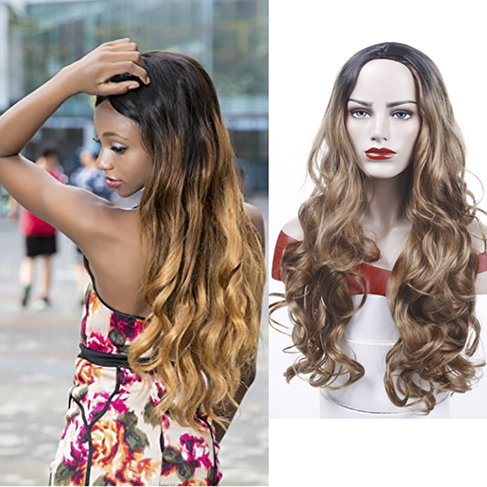 28 inches Black Roots Ombre Blonde Wig Best Synthetic Hair Wavy Wig Heat Resistant Hair Weave Full Wigs For Women AOSIWIG