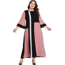 Summer Dress XL-5XL Plus Size Long Dress Women Geometric Panel Contrasting Color 3/4 Flare Sleeve Loose Dress HY8666 3 4 sleeve crochet flare dress