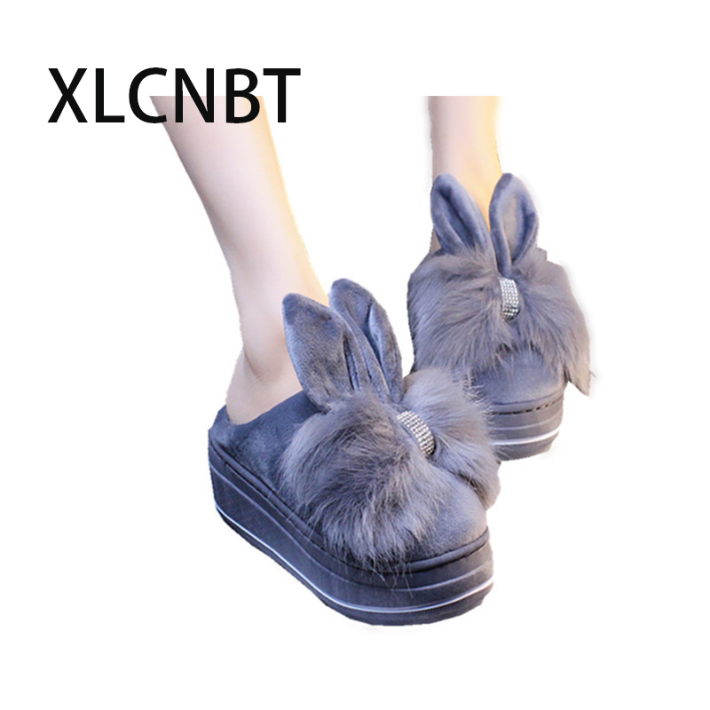 plush indoor slipper women high heel platform winter keep warm home slipper cotton fabric lovely girl shoes winter outside shoes tolaitoe new winter warm home women slipper cotton shoes plush female floor shoe bow knot fleece indoor shoes woman home slipper
