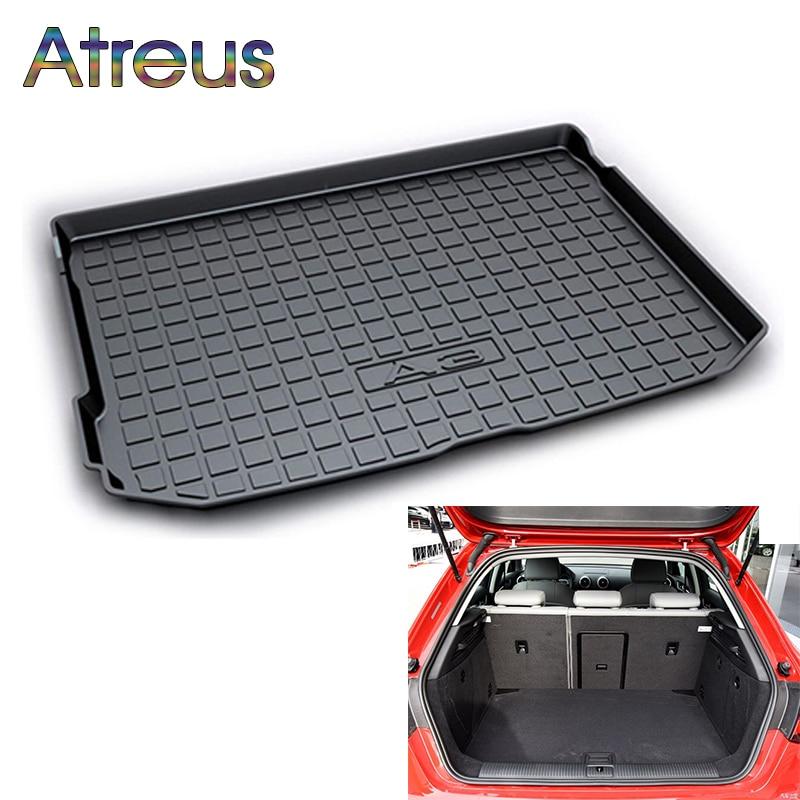 Atreus Car Rear Trunk Floor Mat Durable Carpet For Audi A3 Hatchback 2014 2015 2016 2017 2018 Boot Liner Tray Anti-slip mat atreus car rear trunk floor mat durable carpet for mazda cx 5 cx5 ke 2012 2013 2014 2015 2016 boot liner tray anti slip mat