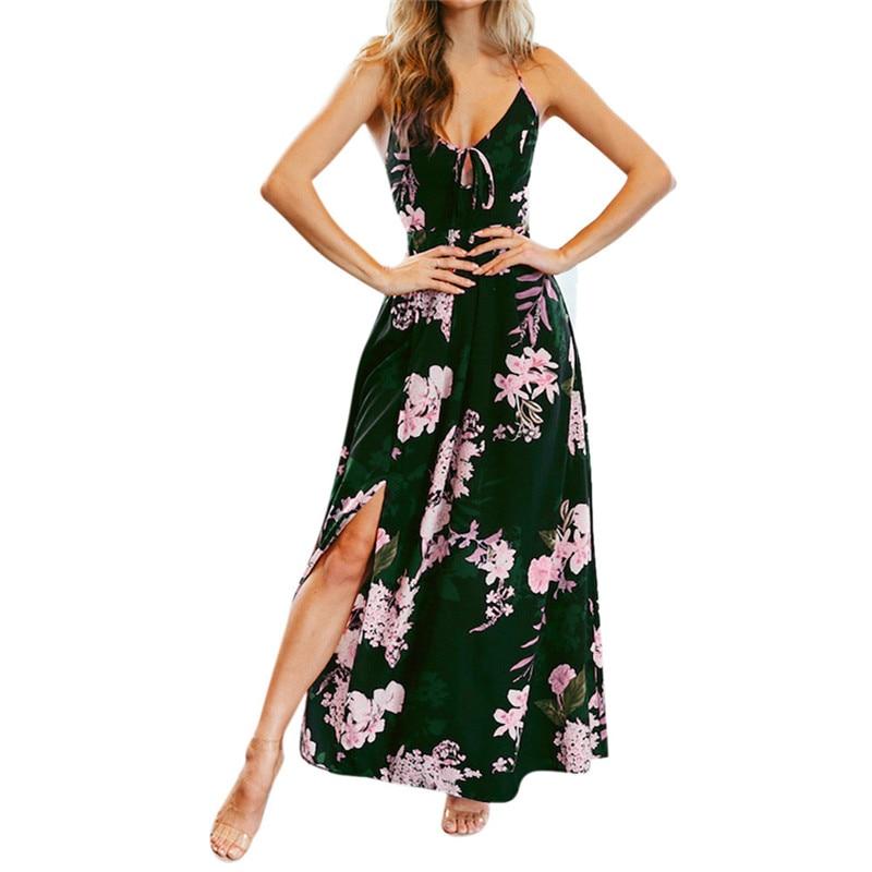 12.15Women Floral Print Cross Strap High Waist Split Casual Sleeveless Sling Dress#35