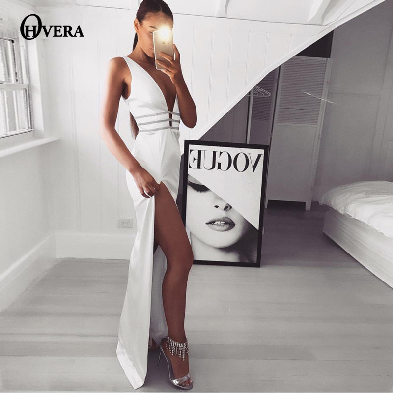 3691bf99261b4 Ohvera Satin Side High Split Maxi Long Dress Women Bodycon Backless Sexy  Club Party Dress Elegant V Neck Summer Dresses 2018