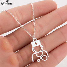 Yiustar New Arrival Fashion Stethoscope Necklace Women 2019 Stainless Steel Nurse Doctor Choker Jewelry for Best Friend Necklace(China)