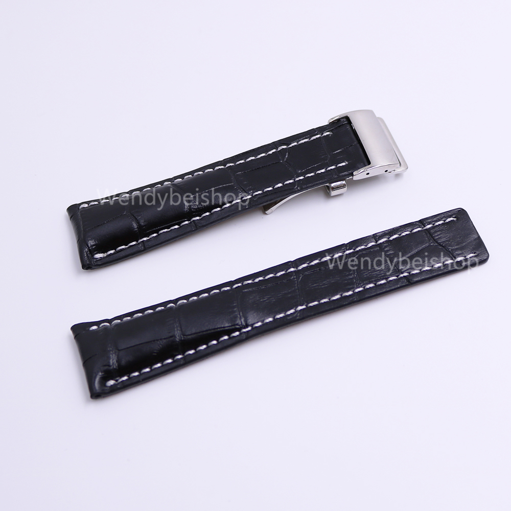 CARLYWET 22 24mm(20mm Clasp) Wholesale Black Men Women Real Cowhide Leather Wrist Watch Band Strap Belt  Silver Clasp Buckle carlywet new style men women black strap silicone rubber replacement watch band belt special popular
