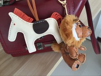 Leather Tote Charm Cute Animal Purse Charm White Horse and Lion shaped Keychain Unique Key Holder Ring Keyholder Bag Pendants