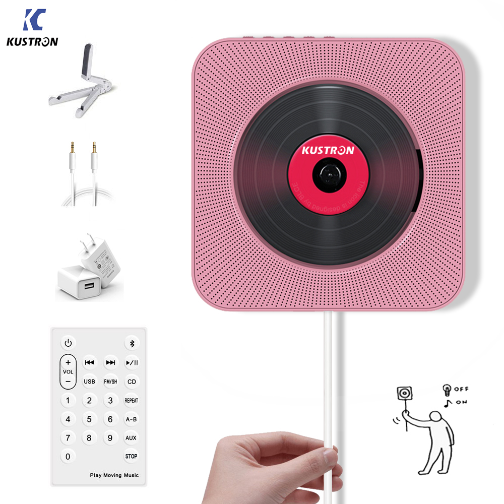 KUSTRON Wall Mounted Bluetooth cd player, puxe o Interruptor com Controle Remoto Orador HiFi Jogador Drive USB Fone De Ouvido Jack AUX de entrada/saída