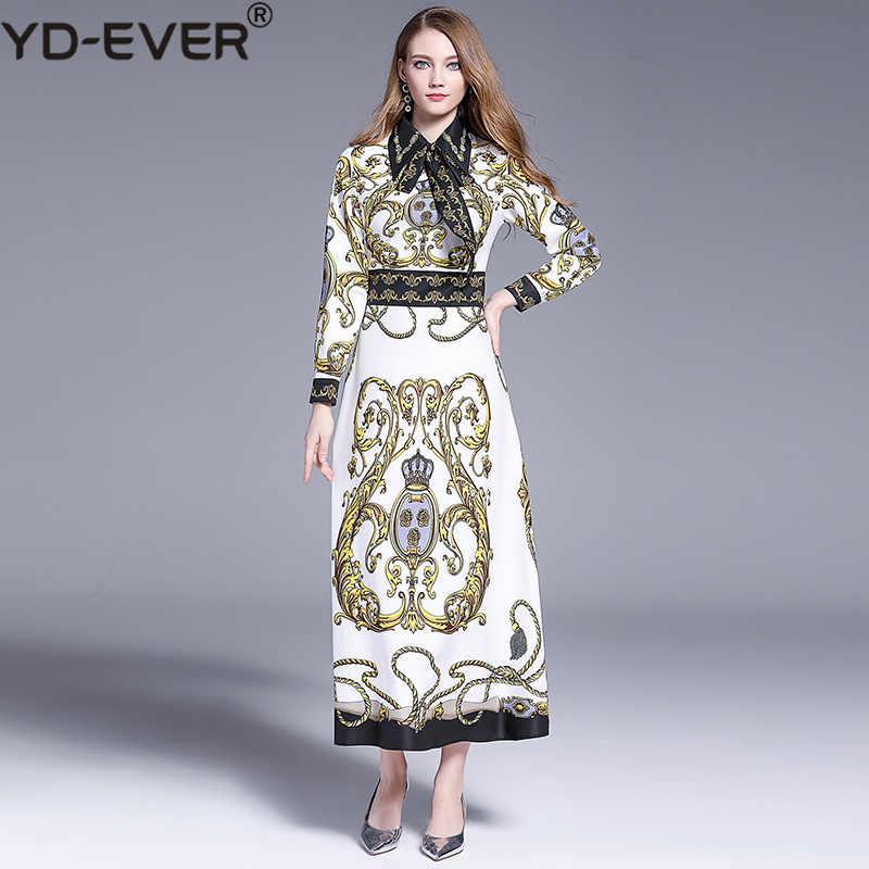 Moda diseñador otoño fiesta Maxi Vestido Mujer lazo Collar de manga larga barroco impreso elegante Vintage vestido de Camisa larga