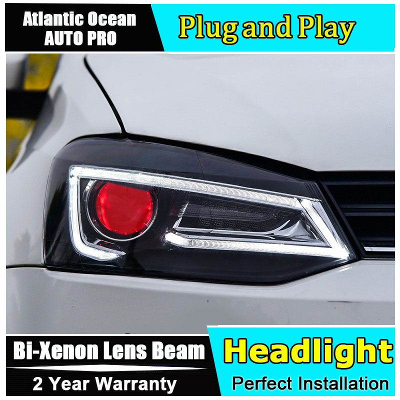 AUTO.PRO for vw polo headlights 2011-2016 models car styling LED car styling xenon lens car light led bar H7 led parking electric car motorcycle 15w led headlights modification lens light 12 60v