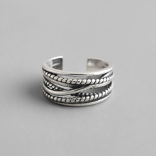 Vintage Multi-layer twist Open Ring Female Jewelry Real Solid 925 Sterling Silver Rings for Women Bagues Femme Cool Punk