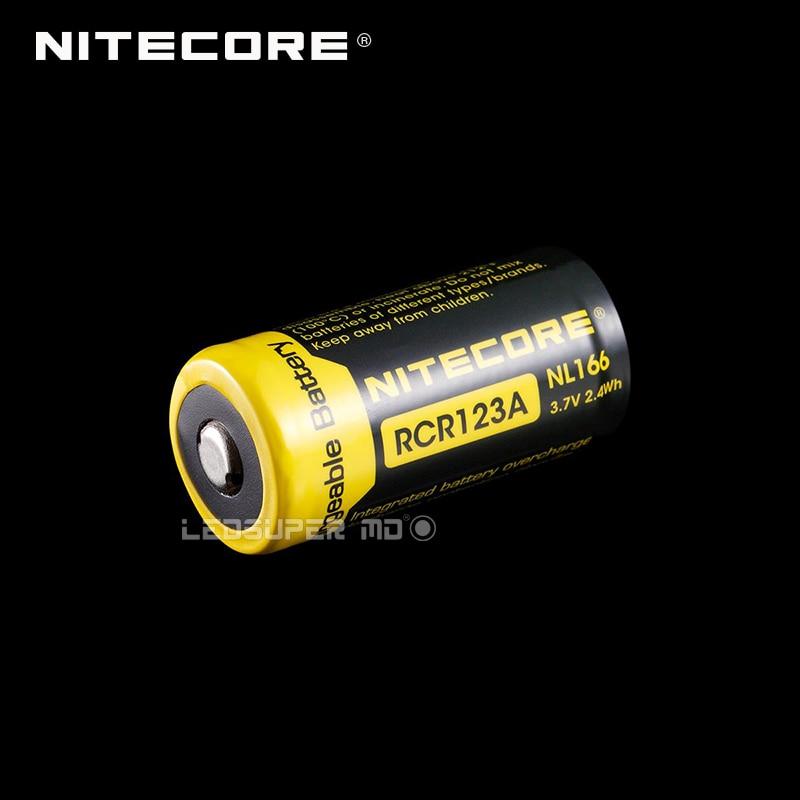 2PCS Original Nitecore NL166 RCR123A Rechargeable Li-ion Battery with 650mAh 3.7V 2.4Wh