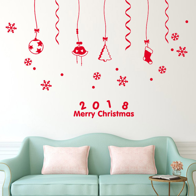 2018 Merry Christmas Wall Sticker Decorations Home Shop Window Stickers  Decal Jingle Bells Snowflake Balls Decor