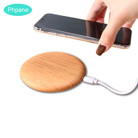 Chargeur Induction Pad Bamboo Wood Circle Qi Wireless Charger Charging Mats For Xiaomi Mi 9t Note 10 Mi Mix 2s Huawei P30 pro|Wireless Chargers|   -