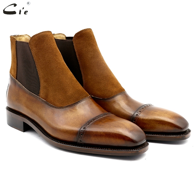 cie square cap toe full grain genuine calf leather boot patina brown handmade bespoke leather elastic band men's ankle boot  A03