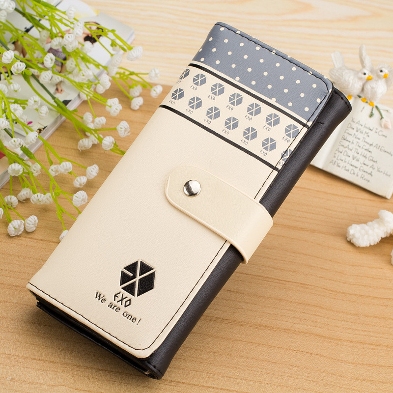 Women Wallet Star EXO Long Design Hasp Leather clutch card holder Purse Handbag Wholesale-New Arrival Valentine's Day gift 2017 casual weaving design card holder handbag hasp wallet for women