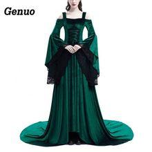 Women Vintage Dress 2018 Autumn Retro elegant lace maxi dresses Genuo Gothic Costume Medieval Gown Long robe longue