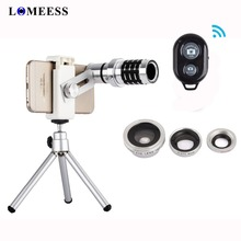 4 In 1 12X Zoom Telephoto Len 180 degree Fish Eye 0.67X Wide Angle 10X Macro Camera Lens For Smartphone with Clip and Tripod