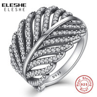 ELESHE 925 Sterling Silver Light As A Feather Ring Clear CZ Tropical Palm Leaf Finger Ring