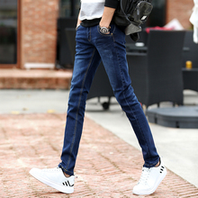 Autumn and winter slim men's jeans stretch jeans with Korean Male Juvenile Black Velvet Pants male tide