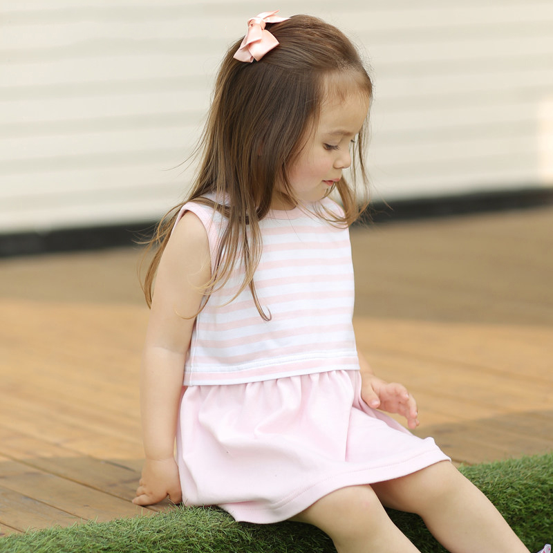 2016 Summer Baby Girl Dress Cotton Toddler Girls Pink Stripe Clothes Infant Dress for Girls 1 Year Birthday Frock Designs