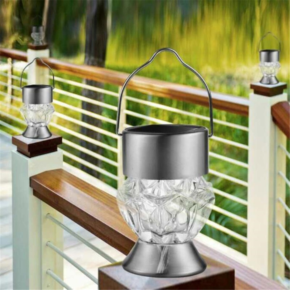 E-SMARTER Emergency LED Solar Hanging Lamp Color Changing Outdoor Solar Light Garden Tree Holiday Decoration Diamond like Lamp