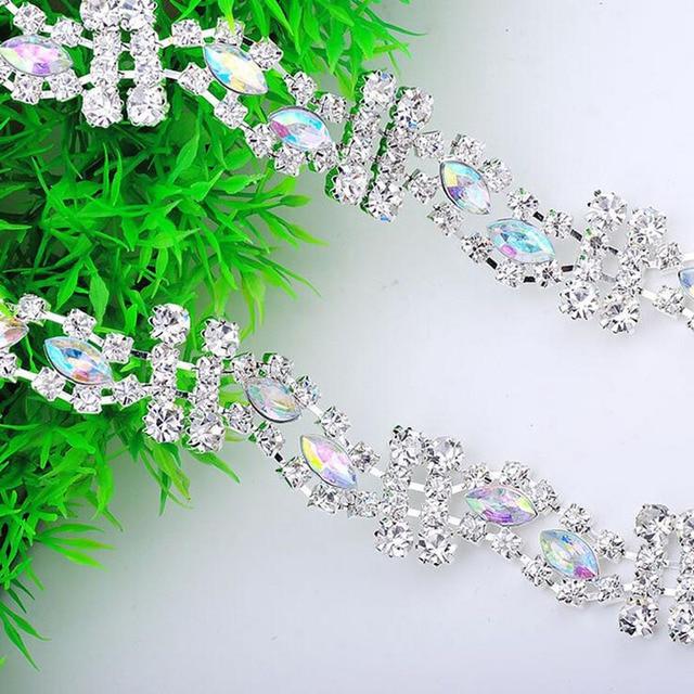 5Yards Crystal Rhinestone Trim DIY Sew On Silver Plating Strass Metal  Diamond Chains Rhinestone Trimming Clothing Accessories 838d2bb8c3f1