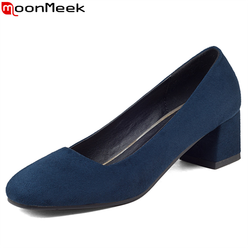 MoonMeek flock square toe med heels women pumps simple shallow spring autumn single shoes  lady prom shoes big size 34-43 fashion new spring summer med high heels good quality pointed toe women lady flock leather solid simple sexy casual pumps shoes
