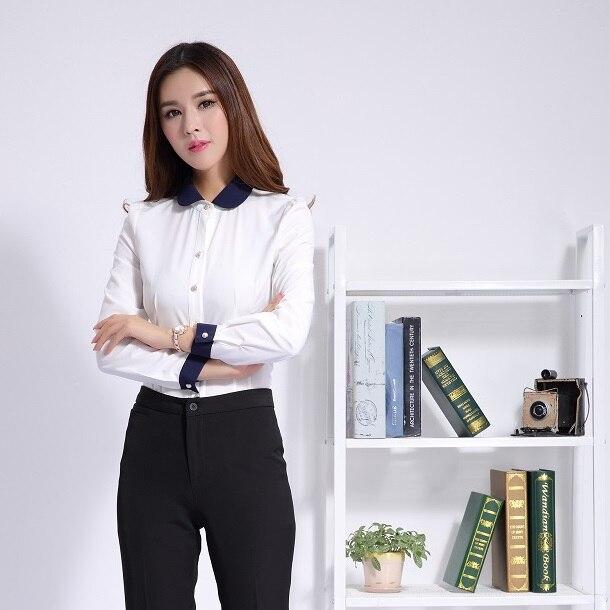 Moda mujer Blusas Formal de manga larga blanca para mujer
