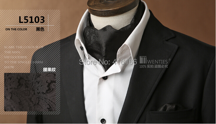 Classic Black 100% Silk Paisley Floral Men Ascot Cravat(Scarf )+Pocket Square 1set/lot L5103 Jacquard Ties - Bo Shop store