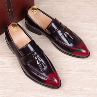 England Fashion Men S Breathable Wedding Party Dresses Summer Genuine Leather Shoes Slip On Tassel Flats