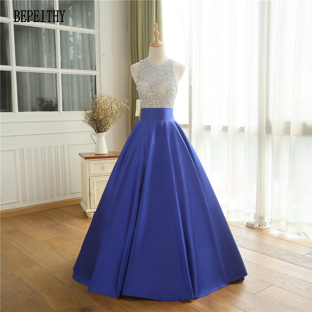 BEPEITHY Vestido De Festa Royal Blue Long Evening Dress Party Dress ...