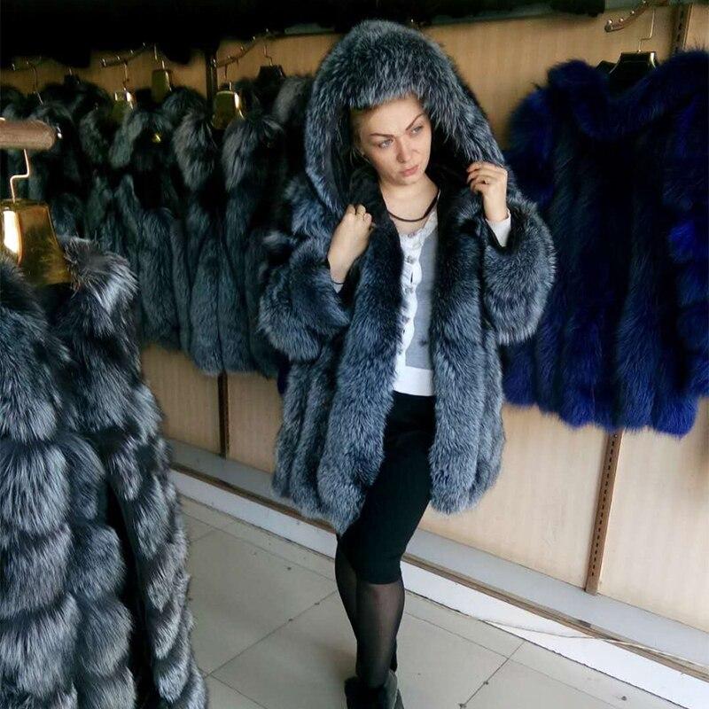 FURSARCAR Luxe Hiver Naturel Véritable Fourrure Pour Femmes Véritable Manteau De Fourrure De Renard Pleine Peau Épaisse Veste Longue pour femmes capuche en fourrure