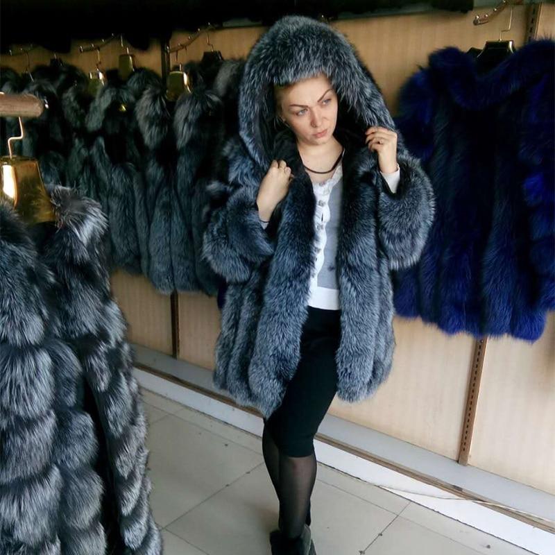 FURSARCAR lujo invierno piel Real Natural para mujer genuino Fox abrigo de piel completa Pelt gruesa Chaqueta larga para las mujeres con capucha de piel