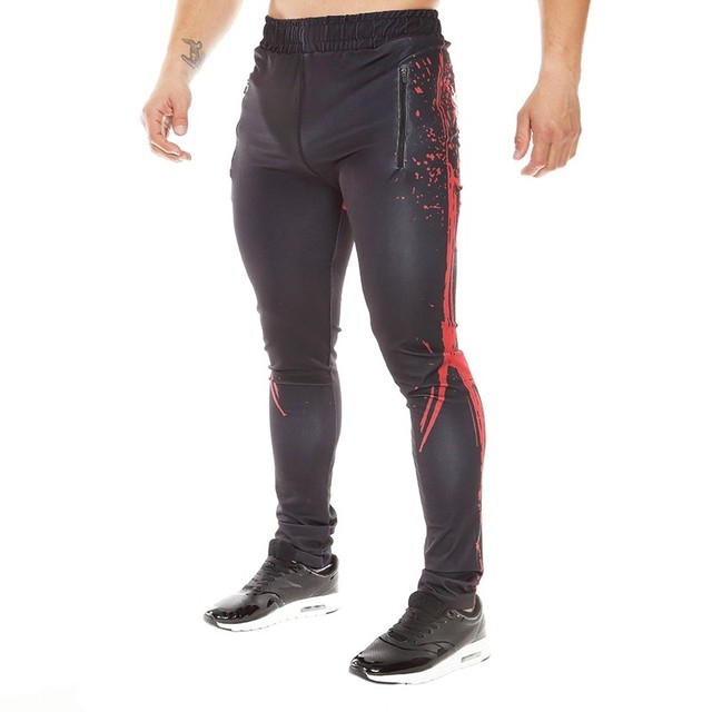 2017 New Fashion Mens Compression Pants Tights Base Layer Clothing Letter Print Skinny Leggings High Quality