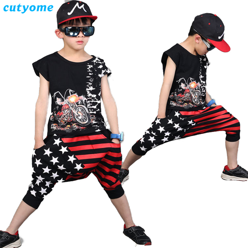 Teens Clothes Boys Hip Hop Outfits Motercycle Print T Shirt+Striped Stars American Flag Shorts Harem Hot Pants Kids Clothing Set