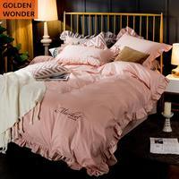 Korean Style 100% Cotton Four Piece Bedding Set Princess Beautiful Bedding Products