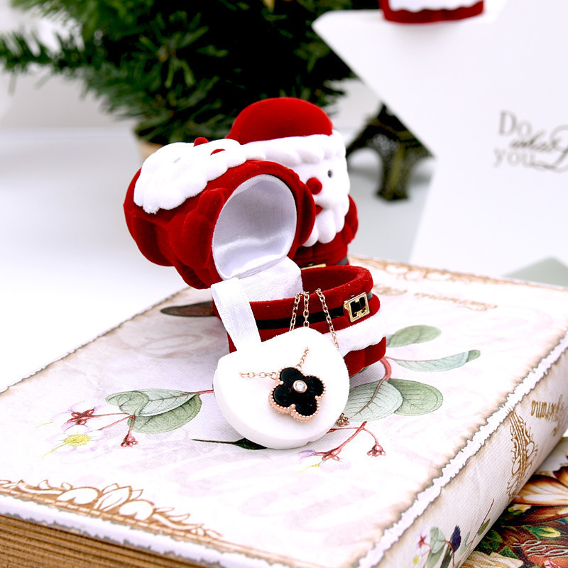 1pcs Velvet Red Santa Claus Design Xmas Gift Ring Earring Ear Stud Necklace Jewelry Case Box Jewelry Organizer Gift Box