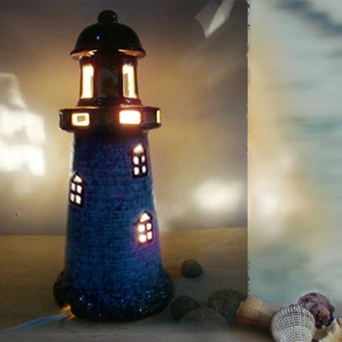Creative Gift Mediterranean Lighthouse Decorative Ceramic Lamp Bedroom  Bedside Lamp Night Light Cute Little Warm Birthday