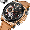 Men Watch Top Brand LIGE Luxury Quartz Clock Mens Watches Sports Chronograph Leather Waterproof Fashion Watch
