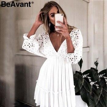 700dba311c1da BeAvant Seksi nakış pamuk beyaz elbise kadın Zarif fırfır pilili yaz  elbiseler V yaka hollow out kısa elbise vestidos